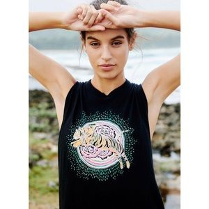 Free People At the Barre Black Tiger Tank Top